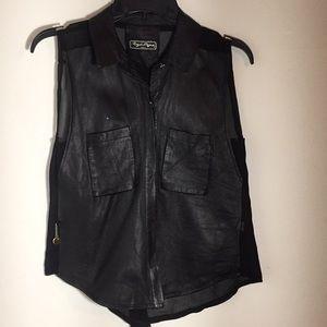 Black genuine Italian leather sleeveless top